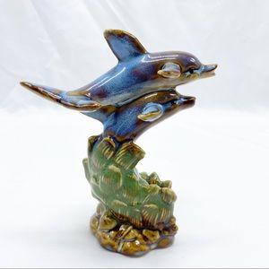 Vintage Ceramic Blue Brown Dolphin Figurine